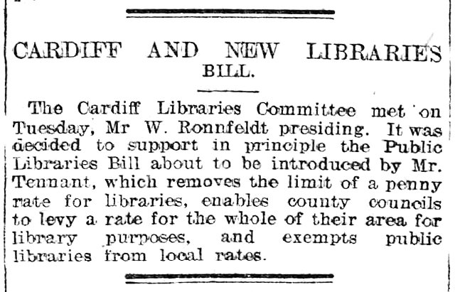 Cardiff And New Libraries Bill Evening Express 27th March 1907