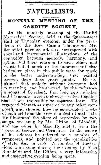 Musical Meeting Of The Cardiff Naturalists' Society Evening Express 21st February 18964